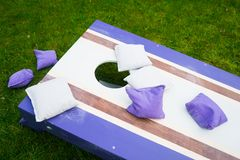 Purple Cornhole Bean Bag Toss Game stock photos