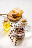 Homemade cosmetics based on honey and coffe Royalty Free Stock Photos