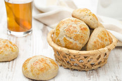 Homemade cottage cheese bread rolls in a basket Royalty Free Stock Image