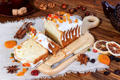 Homemade cottage cheese cake with candied fruit Royalty Free Stock Photo