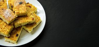 Homemade cottage cheese casseroles with raisin slices