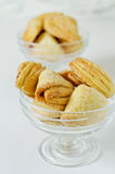 Homemade cookies. Homemade cottage cheese cookies in two glass bowls Royalty Free Stock Image