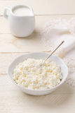Homemade cottage cheese and dairy cream on a white wooden table Royalty Free Stock Images