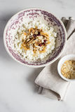 Homemade cottage cheese with dried figs Stock Photography