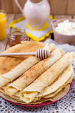 Homemade cottage cheese with orange juice and pancakes Stock Images