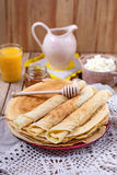 Homemade cottage cheese with orange juice and pancakes Royalty Free Stock Images