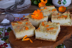 Homemade cottage cheese pie. Rustic grated cake bars on a wooden board Royalty Free Stock Photos