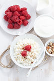 Homemade cottage cheese with raspberry, milk and yogurt. On white table, top view Stock Photos