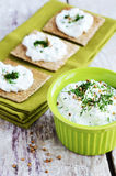 Homemade Cottage Cheese Spread And Rye Loaves Sandwiches Royalty Free Stock Photography