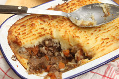 Homemade cottage pie from above Stock Photos