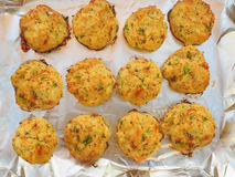 Homemade crabcakes on a tray Stock Photography