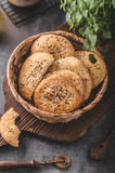 Homemade crackers with cumin Royalty Free Stock Images