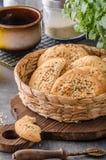 Homemade crackers with cumin Royalty Free Stock Photos