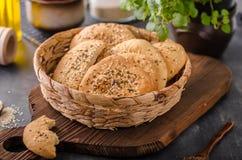 Homemade crackers with cumin Stock Photos