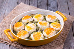 Homemade cramble cobbler in ceramic form. On the table royalty free stock photography