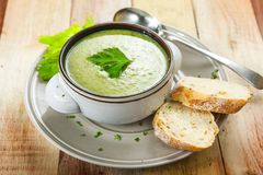 Homemade cream of broccoli soup stock image