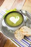 Homemade cream of broccoli soup royalty free stock photo