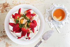 Homemade cream layer cake, fresh, colorful, and delicious dessert with juicy strawberries, sweet whipped cream and cream cheese Stock Photos