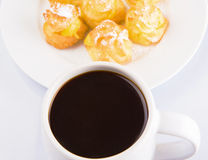 Homemade Cream Puff and Coffee III Royalty Free Stock Photography