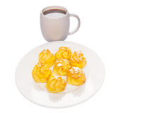 Homemade Cream Puff and Coffee V Stock Photos