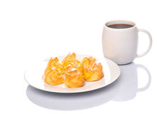 Homemade Cream Puff and Coffee VI Stock Photo