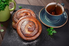Homemade cream roll and cup of tea Royalty Free Stock Photos
