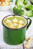 Homemade cream soup with broccoli and croutons Stock Photo