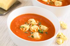 Homemade Cream of Tomato Soup with Tortellini Royalty Free Stock Photo