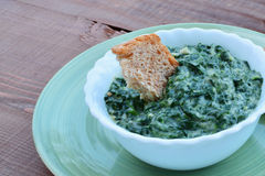 Homemade creamed spinach in a bowl Royalty Free Stock Images