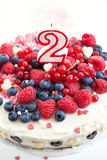 Homemade creamy cake decorated with fresh berries Royalty Free Stock Images