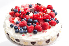 Homemade creamy cake decorated with fresh berries Royalty Free Stock Image