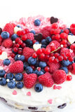 Homemade creamy cake decorated with fresh berries Stock Images