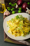 Homemade creamy tagliatelle from semolina flour Stock Photo
