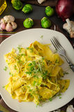 Homemade creamy tagliatelle from semolina flour Stock Photography