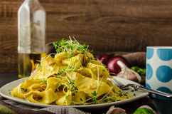 Homemade creamy tagliatelle from semolina flour Royalty Free Stock Image