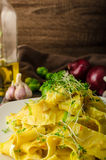 Homemade creamy tagliatelle from semolina flour Royalty Free Stock Photography