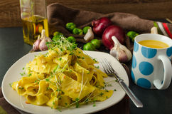Homemade creamy tagliatelle from semolina flour Royalty Free Stock Photos
