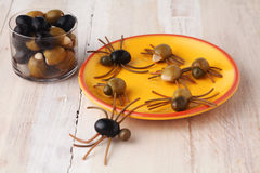 Homemade creative Halloween spider snacks Royalty Free Stock Image