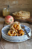 Homemade crepes with apple and caramel Royalty Free Stock Photography