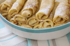 Homemade Crepes Russian : Blini filled with sweet cream cheese stock photo