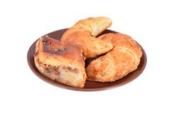 Homemade crescent roll with nut Stock Image
