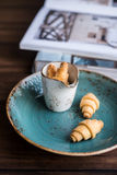 Homemade crescent rolls with sugar on a plate Royalty Free Stock Photo
