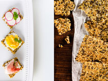 Homemade crisp bread with seeds and appetizers made of it stock images