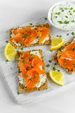 Homemade Crispbread toast with Smoked Salmon, Melted Cheese and cress salad. on white wooden board Stock Image