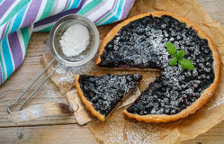 Homemade crispy tart with fresh blueberries and powdered sugar. Selective focus Stock Photography