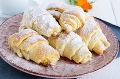 Homemade croissants with fruit jam Stock Image