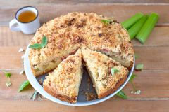 Rhubarb crumb cake. Homemade crumb cake with rhubarb pieces royalty free stock photo