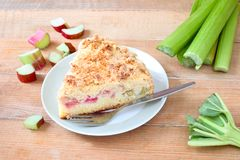 Rhubarb crumb cake. Homemade crumb cake with rhubarb pieces royalty free stock images