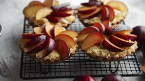Homemade crumble tarts with fresh plum slices placed on iron baking grill