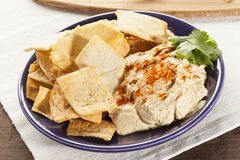 Homemade Crunchy Pita Chips with Hummus Stock Image